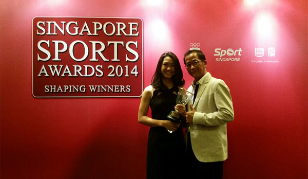 Janine Khoo with coach Roy Ibraim at the Singapore Sports Awards 2014